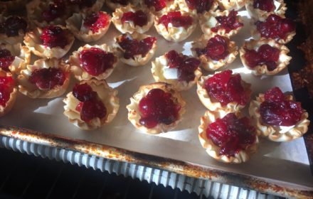 savory cranberry brie bites onion rosemary filo dough cups